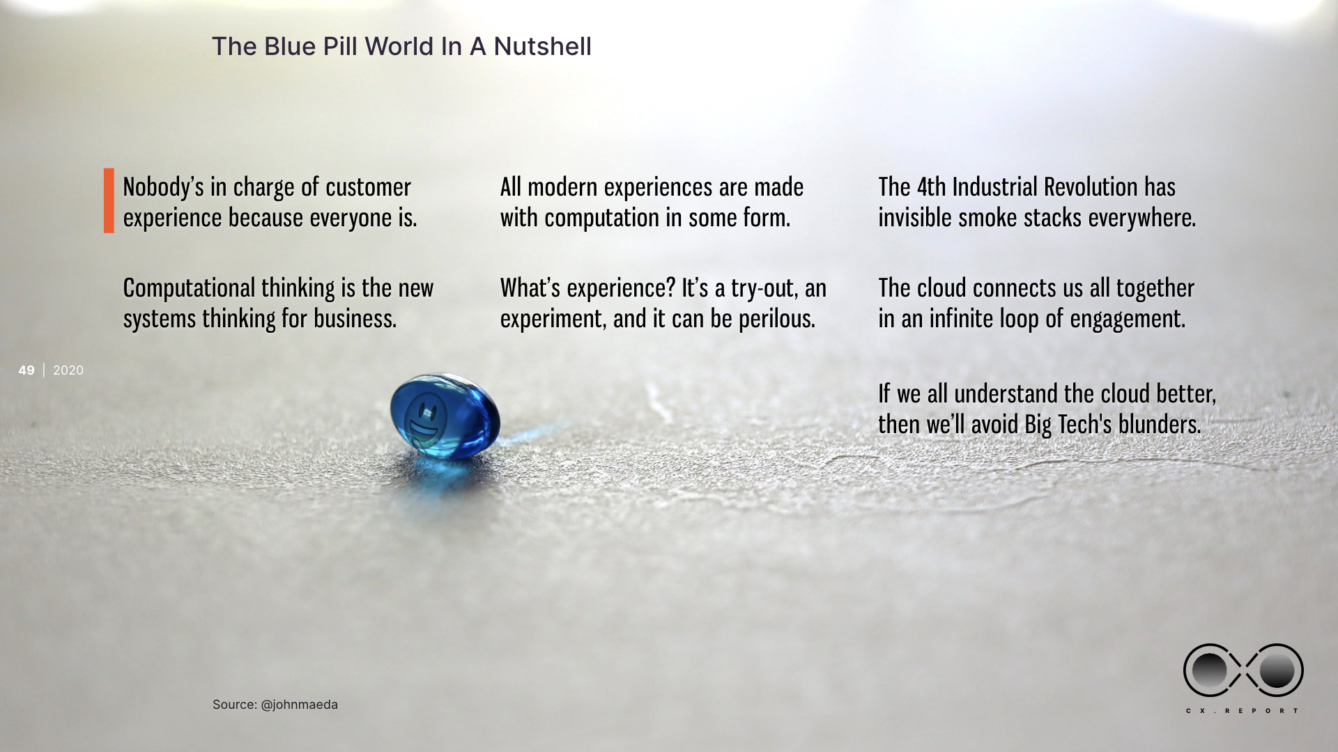 Blue pill summary as explanatory text below as readable text.