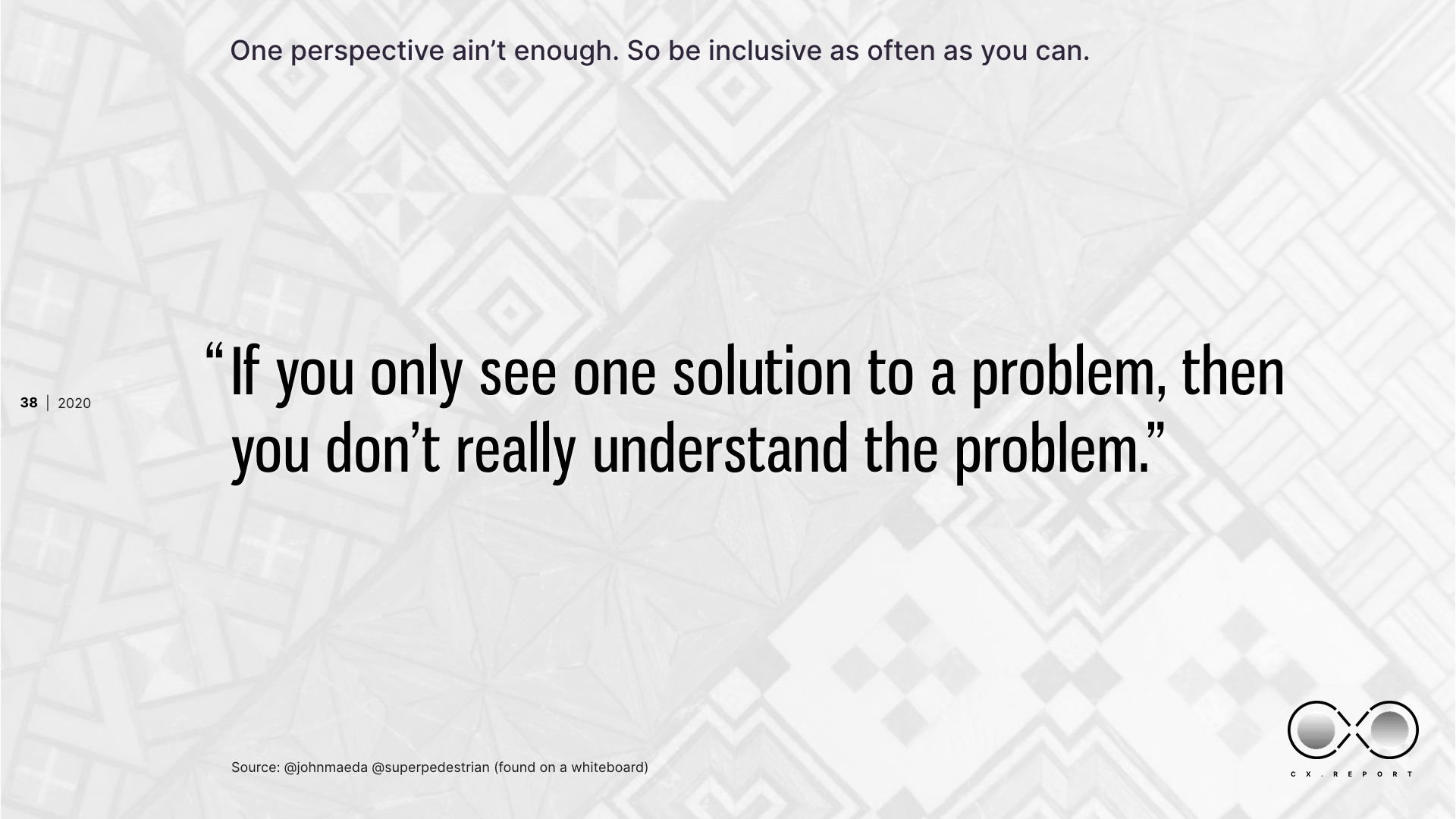 Understand the problem over the solution.